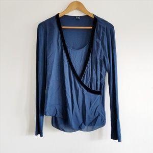 European Culture Blue Silk Accent Wrap Top - M